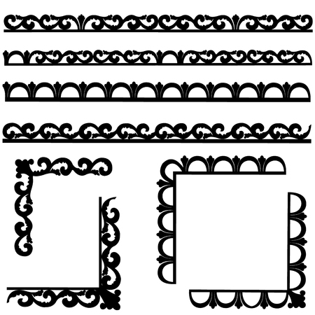 Set of black borders isolated on white