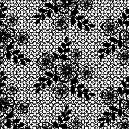 seamless black lace with floral pattern on a white background
