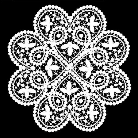 Weiße Spitze Deckchen mit Blumenmuster auf schwarzem Hintergrund