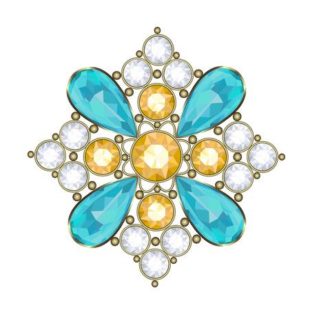 strass: Luxus goldene Brosche mit Edelsteinen