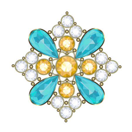 Luxury golden brooch with precious stones