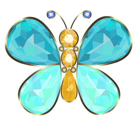 Gold butterfly brooch ideal of precious stones