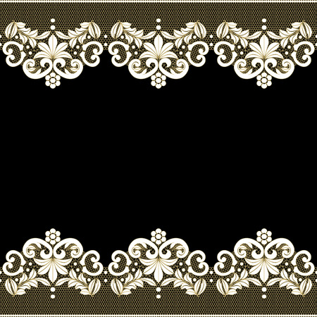 Black background with white lace pattern border Vector