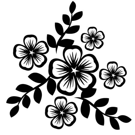 Black silhouette of flowers isolated on white Vector