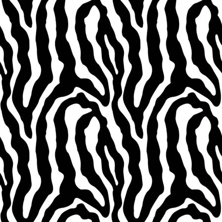 Anival print,zebra texture seamless background black and white colors Vector