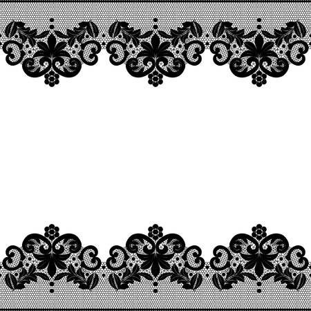 Seamless black lace border with floral pattern