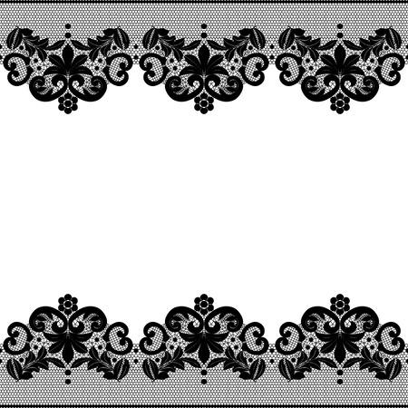 Seamless confine pizzo nero con motivo floreale Archivio Fotografico - 27516167