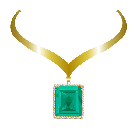 gold necklace: gold necklace with gems, pearls and emerald