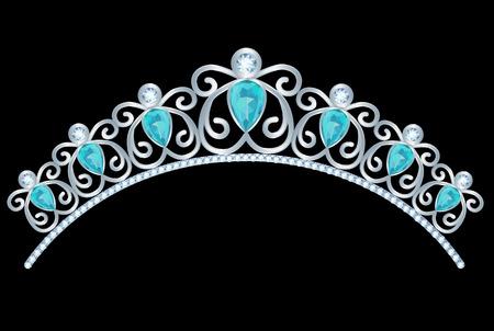 tiara: Vintage silver tiara with jewels on black background