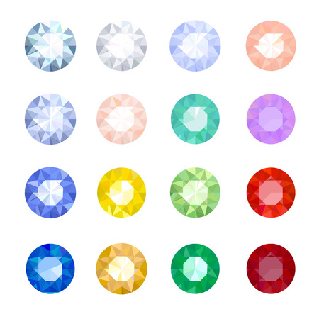 set of colored gemstones on a white background Illustration