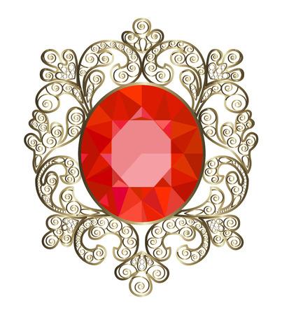 Brooch dell'annata con oro ornato e pietre preziose Archivio Fotografico - 28457004