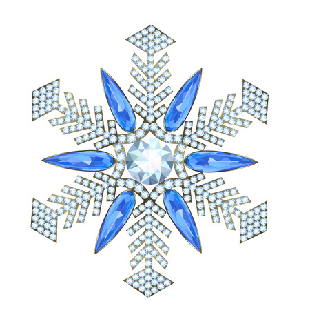 strass: Brooch in the form of a snowflake made ??of precious stones