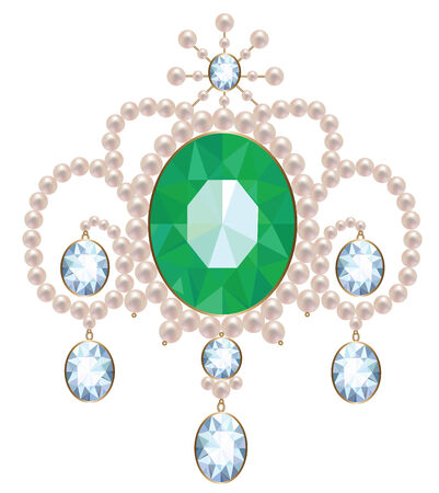 Vintage brooch with pearl, emerald and diamonds