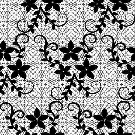 Seamless black floral lace on a white background Vector