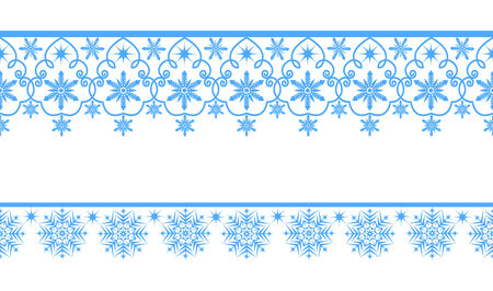 Elegant seamless blue lace snowflakes on a white background Illustration