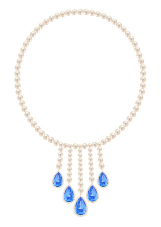sapphires: Pearl necklace with five pendants sapphires on a white background Illustration