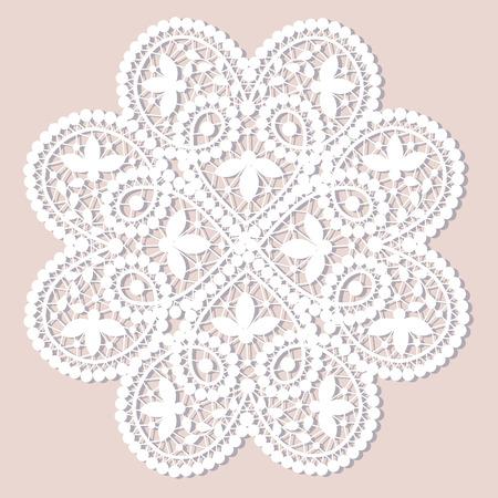 Pizzo bianco centrino con motivo floreale su fondo beige Archivio Fotografico - 29412930