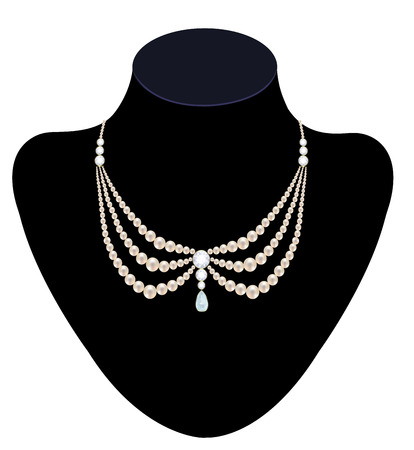 necklace: Pearl necklace with diamond on black mannequin isolated on white
