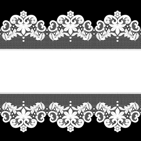 Invitation, greeting or wedding card with white lace on black background Illustration