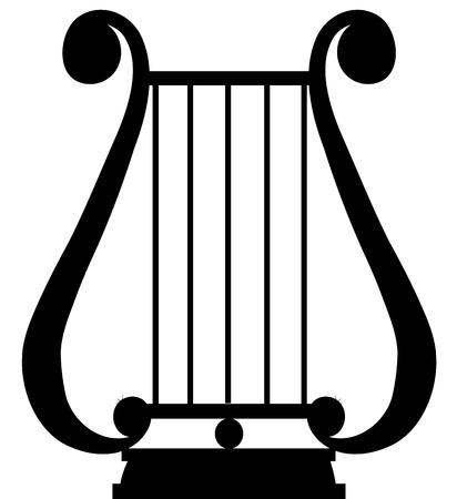 Black silhouette of antique music instrument - lyra Illustration