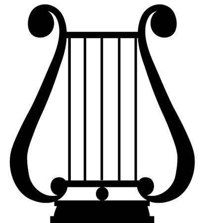 lyra: Black silhouette of antique music instrument - lyra Illustration