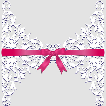 Invitation, wedding or greeting card with lace border and red ribbon Çizim
