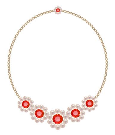 Collar con cinco colores de perlas y rubíes en una cadena de oro