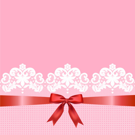 White lace border with a red bow on a pink background