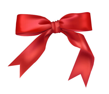 Bow of red wide ribbon on a white background