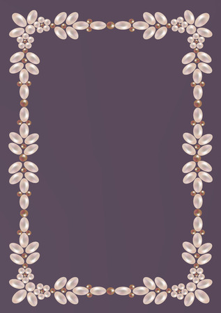 Elegant frame of pearls with floral ornament