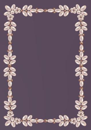 Elegante cornice di perle con l'ornamento floreale Archivio Fotografico - 29601190