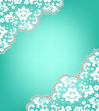 Invitation card with lace and pearls on a turquoise background