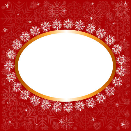 Red background with white snowflakes and golden frame Illustration