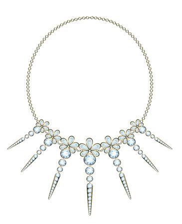 viso: Collar de diamantes exquisito con colgantes en oro