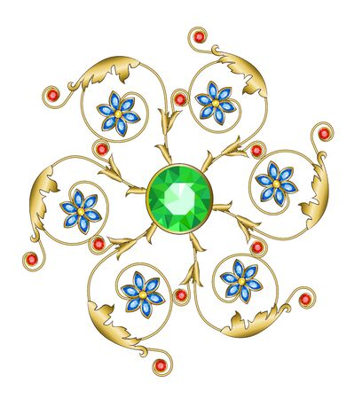 sapphires: Golden brooch in the shape of a flower with emerald sapphires and rubies