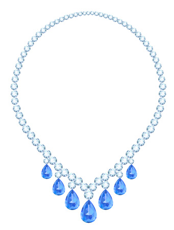 sapphires: Luxury diamond necklace with teardrop-shaped sapphires Illustration