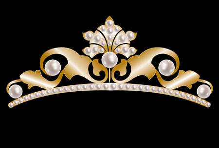 tiara: Vintage gold tiara with pearls on black background Illustration