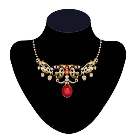 adorned: Gold necklace adorned with pearls and rubies on a mannequin