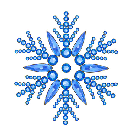 flawless: Elegant snowflake made of sapphires on a white background