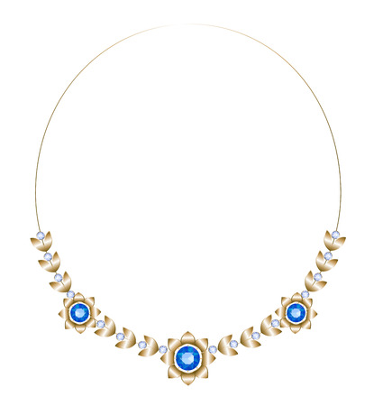 sapphires: Gold necklace consisting of three flowers and leaves with sapphires with diamonds