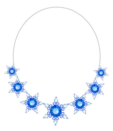 sapphires: Elegant necklace with flowers from diamonds and sapphires