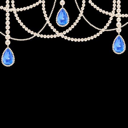 Hanging gioielli collana di perle con pendenti zaffiro su sfondo nero Archivio Fotografico - 31571250