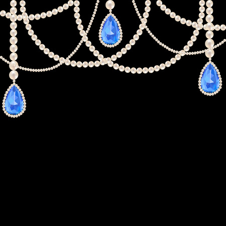 Hanging pearl necklace jewelry with sapphire pendants on black background Çizim