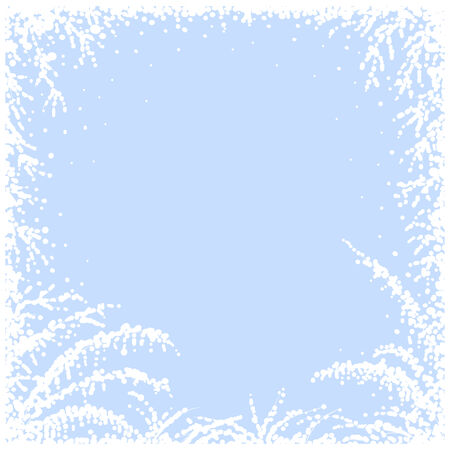 frosted window: Frozen window with blue background. Christmas card