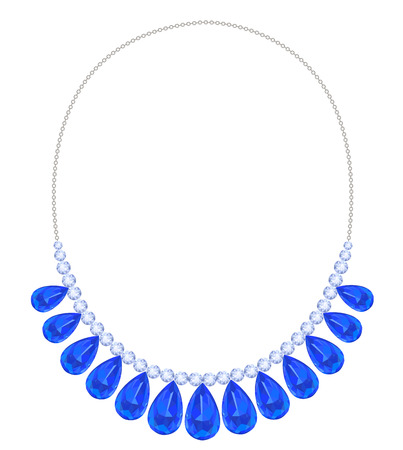 Diamond necklace on a gold chain decorated with teardrop-shaped sapphires Vettoriali