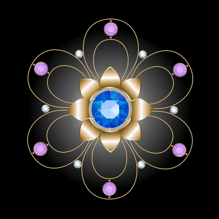 brooch: gold brooch in the form of openwork flower decorated sapphire, diamonds and amethysts