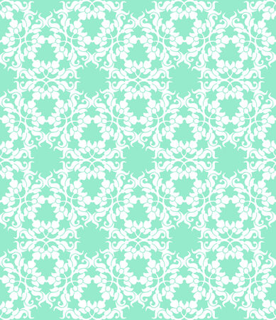 Floral seamless white pattern on a turquoise background