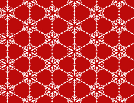 White seamless pattern of snowflakes on a red background