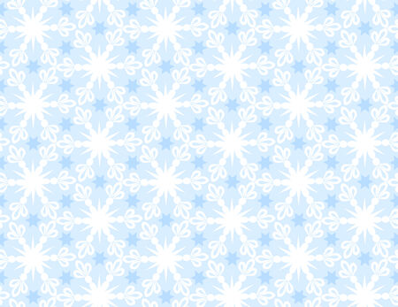 White seamless pattern of snowflakes on a blue background Illustration