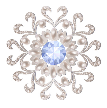 brooch: Silver brooch decorated with pearls and aquamarine